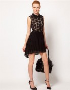 Чёрное платье с асимметричной юбкой Anne Klein