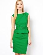 Зеленое платье с баской Asos