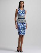 Синее платье с баской и леопардовым принтом Coast