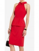 Красное платье с баской и открытой спинкой BCBG MaxAzria