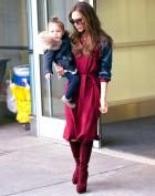 Бордовое платье с длинными шелковыми рукавами Victoria Beckham