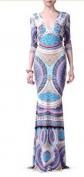 Длинное платье с глубоким декольте и вырезом на спинке Roberto Cavalli