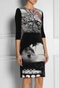 Черное платье с оригинальным рисунком Dolce and Gabbana