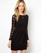 Черное платье с прозрачными длинными рукавами Asos
