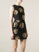 Черное платье с рисунком из монет Dolce and Gabbana