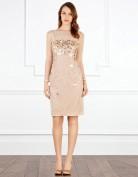 Праздничное платье с рукавами из сеточкой и золотыми паетками Coast