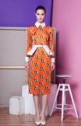 Оранжевое платье с рыбками Alex Perry