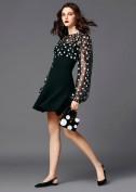 Короткое платье с шифоновым верхом расшитым белым горошком Dolce and Gabbana