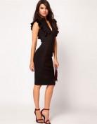 Чёрное платье с V-образным вырезом декольте Anne Klein