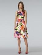 Женственное платье с ярким цветочным мотивом и тонким поясом Anne Klein