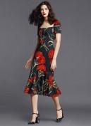 Черное платье с юбкой годе и цветочным принтом Dolce and Gabbana