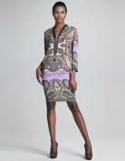 Серое платье свободного кроя с цветным рисунком Emilio Pucci