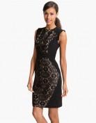 Чёрное приталенное кружевное платье Anne Klein
