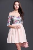 Нежное розовое платье с цветным лифом Christian Dior