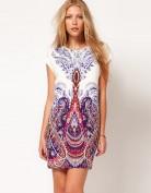 Короткое шелковое платье с необычным рисунком Anne Klein