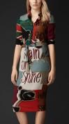 Цветное шелковое платье с воротничком Burberry