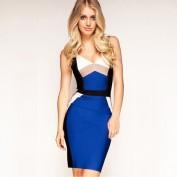 Утягивающее синее платье на тонких бретельках Herve Leger