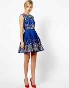 Очаровательное синее платье с цветной вышивкой Asos