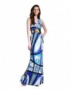 Длинное синее платье с красивым вырезом декольте Emilio Pucci