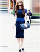 Удлиненное синее платье с поперечными полосами Victoria Beckham