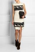 Белое трикотажное платье с принтом в греческом стиле Roberto Cavalli