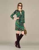 Зеленое трикотажное платье с вырезом-капелькой Emilio Pucci