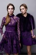 Фиолетовое вечернее кружевное платье с длинным рукавом Elie Saab