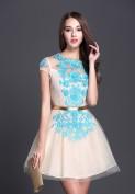 Бежевое вечернее платье с бирюзовой вышивкой Christian Dior