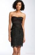 Черное вечернее платье с кружевной юбкой BCBG MaxAzria