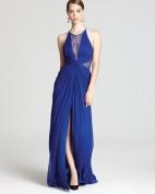 Длинное вечернее синее шелковое платье с кружевом BCBG MaxAzria