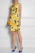 Cолнечное желтое платье-футляр с цветочным принтом Roberto Cavalli