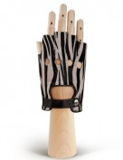 Кожаные женские перчатки без пальцев OS103 black/white (Eleganzza)